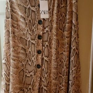 Zara snake skin Aline skirt, size L